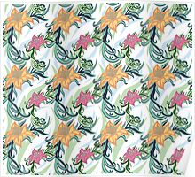 European texture hand painted. Seamless ethnic floral pattern of lilies flowers and curly leaves. Poster