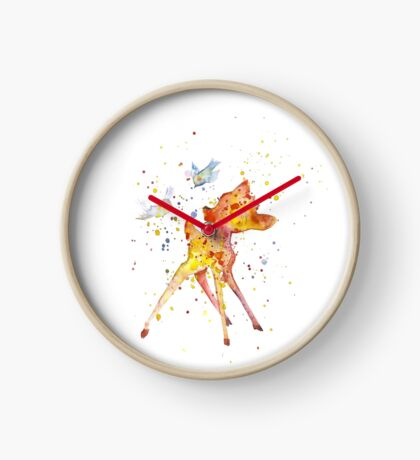 Bambi With Birds. Watercolor Art. Gift For Kids  Clock