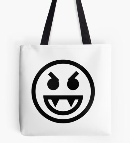 The Internet Generation Collection - Evil Vampire Emoji - Black and White Pattern Tote Bag