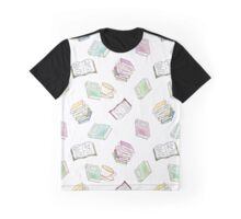 Book Nerd! Watercolor Pattern Illustration of Books & Tea Graphic T-Shirt