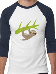 Winking sloth an a bench Men's Baseball ¾ T-Shirt