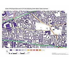 Multiple Deprivation Stepney Green ward, Tower Hamlets Photographic Print