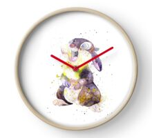 Thumper, Bunny And Butterfly, Watercolor Art Clock