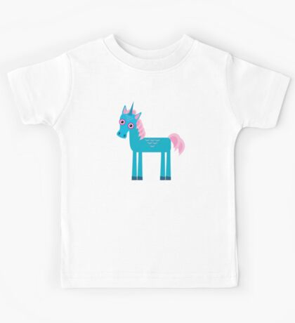 Cute unicorns on blue Kids Tee