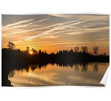 Painted By Airplanes - Reflecting On Contrails Streaked Sunrise Sky At The Lake Poster