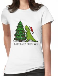 T-Rex Hates Christmas Womens Fitted T-Shirt
