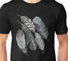 Hand Drawan Of A Silver Freathers Unisex T-Shirt