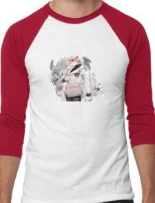 Zen flower crown +quote blush fac Men's Baseball ¾ T-Shirt