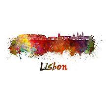 Lisbon V2 skyline in watercolor Photographic Print