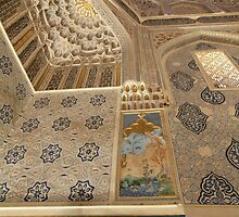 Gold Lustre, Persian Art, Arabic Script, Moorish Dome by Jane McDougall