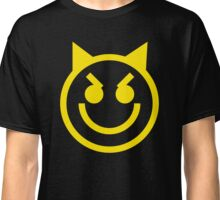 The Internet Generation Collection - Evil Smiling Devil Emoji - Yellow and White Pattern Classic T-Shirt