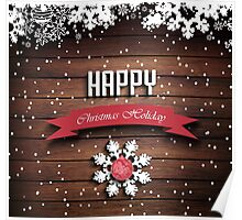 Wooden Christmas Holiday Winter Background Poster