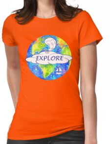 Explore - Watercolor Earth Womens Fitted T-Shirt