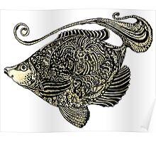 fish ornamental with texture Poster
