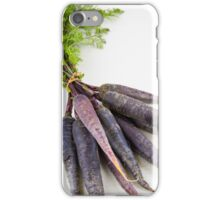 Bunch of heirloom purple carrots, over white and wooden background iPhone Case/Skin