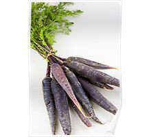 Bunch of heirloom purple carrots, over white and wooden background Poster