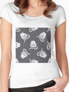 Cute fat cat seamless pattern, funny hand drawn  Women's Fitted Scoop T-Shirt
