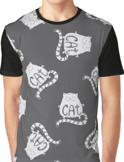 Cute fat cat seamless pattern, funny hand drawn  Graphic T-Shirt