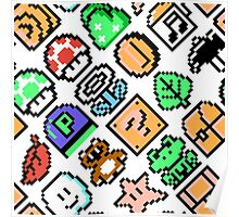 Super Mario Bros. 3 / Items 2 / pattern / white Poster