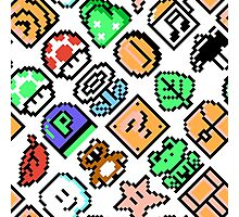 Super Mario Bros. 3 / Items 2 / pattern / white Photographic Print