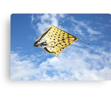 Traditional italian festival with flag throwers.Flags on the blue sky. Canvas Print