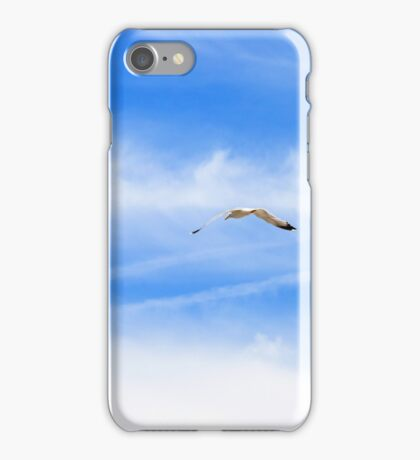 White seagull flying in the blue sky. Freedom concept.  iPhone Case/Skin