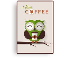 Funny owl who loves coffee. Canvas Print
