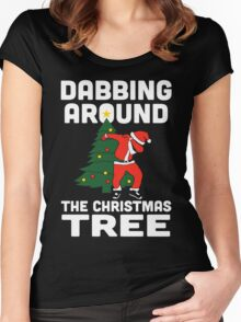 Dabbing Around The Christmas Tree Women's Fitted Scoop T-Shirt