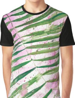 Pink Palm Leaves Graphic T-Shirt