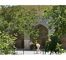 Masjed-e Shah restoration - getting the plaster Photographic Print