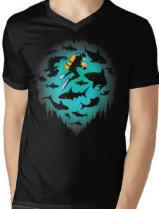 Screwed | Funny Shark and Diver Illustration Mens V-Neck T-Shirt