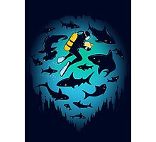 Screwed | Funny Shark and Diver Illustration Photographic Print