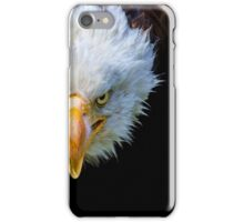 Angry north american bald eagle on black background iPhone Case/Skin