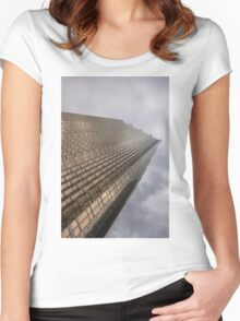 Gold and Gray - a Vertical View Women's Fitted Scoop T-Shirt