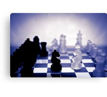 chess pieces in purple Canvas Print