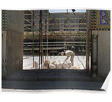 Masjed-e Shah restoration - bags full of plaster Poster