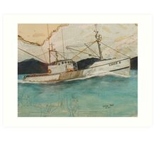 LIHUE II Fishing Boat Cathy Peek Nautical Chart Map Oregon Art Print