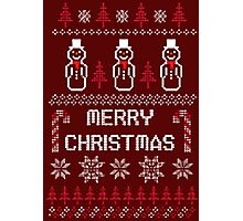 MERRY CHRISTMAS SNOWMAN SWEATER KNITTED PATTERN Photographic Print