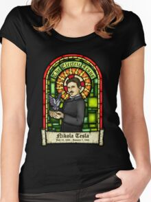 Tesla: The Electric Jesus Women's Fitted Scoop T-Shirt