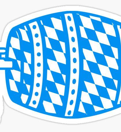 blau weiss flagge hahn oktoberfest bier saufen trinken alkohol fass bayern party feiern text shirt cool design  Sticker