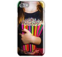 Cute little girl with colorful pencils, on yellow-green background iPhone Case/Skin