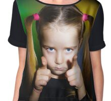 Cute little girl showing to you by fingers, on yellow-green background Chiffon Top