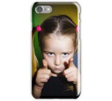 Cute little girl showing to you by fingers, on yellow-green background iPhone Case/Skin