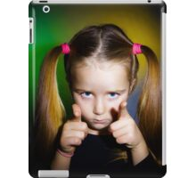 Cute little girl showing to you by fingers, on yellow-green background iPad Case/Skin