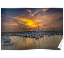 Lymington Yacht Haven Sunset Poster