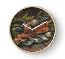 Vincent Van Gogh - Prawns And Mussels. Still life with prawns and mussels: prawns , mussels, grapes, tasty, gastronomy food, flowers, dish, cooking, kitchen, vase Clock