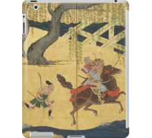 Tosa School - Folding Screen With Design Of The Battle At Uji River. Forest view: forest , horses,  samurai, exploit, warrior, river, bridge, horseman, hunting,  tradition,  sport iPad Case/Skin