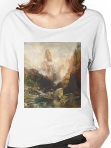 Thomas Moran - Mist In Kanab Canyon, Utah. Mountains landscape: mountains, rocks, rocky nature, sky and clouds, trees, peak, forest, Canyon, hill, travel, hillside Women's Relaxed Fit T-Shirt