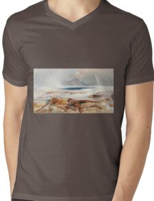 Thomas Moran - Hot Springs Of The Yellowstone 1872. Mountains landscape: mountains, rocks, rocky nature, sky and clouds, trees, peak, forest, Canyon, hill, travel, hillside Mens V-Neck T-Shirt