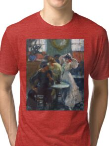Ricard Canals Llambi - Al Bar. Cafe view: drinking and eating party, woman and man, people, family, female and male, peasants, cafe, romance, women and men, restaurant, food Tri-blend T-Shirt
